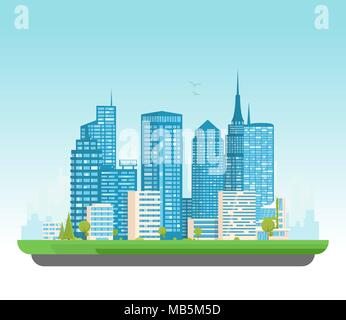 City buildings vector illustration. Small building, big skyscrapers and large city tall skyscrapers on background. Urban street with park and trees ne - Stock Photo