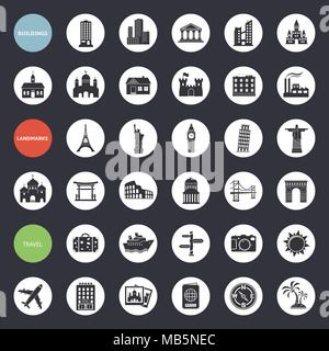 Set of web icons for buildings, landmarks and travel. Vector illustration. - Stock Photo
