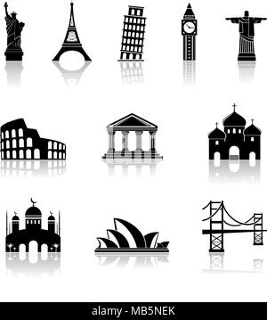 Landmarks Icons Set. Vector illustration - Stock Photo