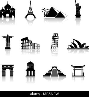 World famous buildings abstract silhouettes. Vector illustration. - Stock Photo