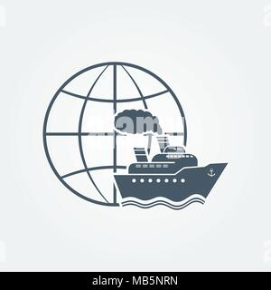 Globe and ship vector icon - Stock Photo