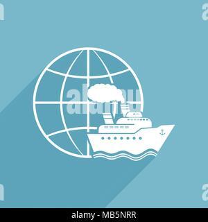 Ship & Globe Vector Sign - Stock Photo