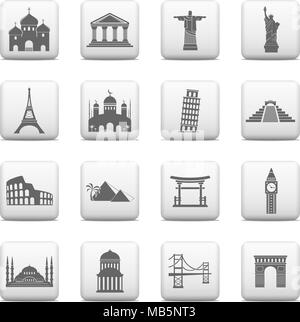 Web buttons, famous international landmarks icons - Vector illustration - Stock Photo