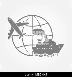 Transportation symbol - airplane and ship - Stock Photo