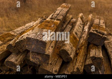 wood Train track planks pile - Stock Photo