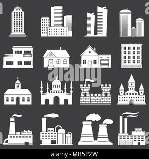 Buildings vector white web icons set on dark background - Stock Photo