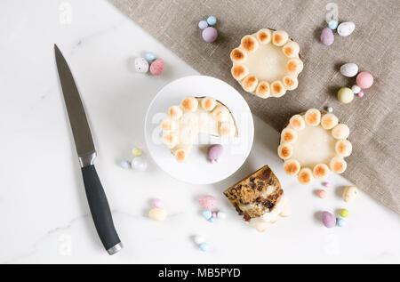 Homebaked mini simnel cakes. - Stock Photo