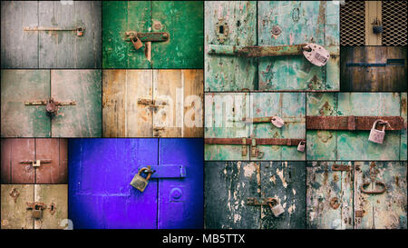 Locked doors with padlocks collage. Closed old rusty padlocks on weathered wooden doors, closeup view - Stock Photo