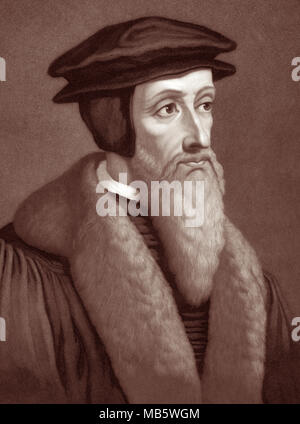 John Calvin (1509–1564) was a French Protestant theologian, pastor and key reformer in Geneva, Switzerland during the Protestant Reformation. His views of Christian theology later become known as Calvinism. - Stock Photo
