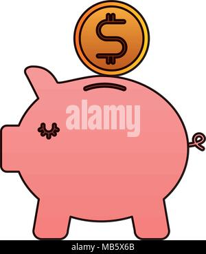 bank piggy safe money coin icon - Stock Photo