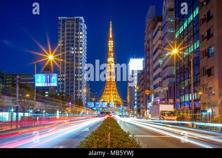 night view of Tokyo city, Japan - Stock Photo