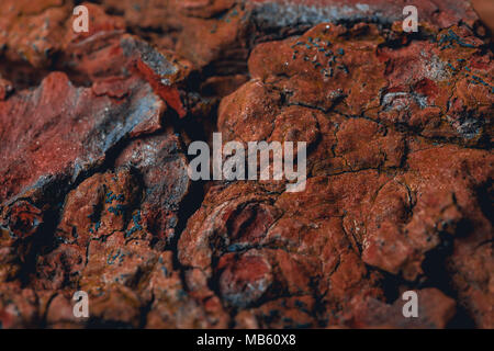 Surface of the planet mars. Red colour of the ground with details, minerals and living organisms on it. - Stock Photo