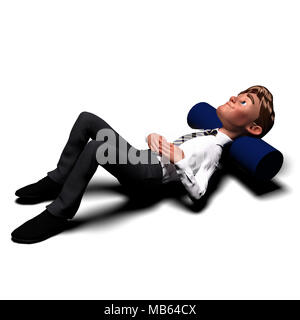 Cartoon businessman sitting sad on ground and over thinking [3d rendered] - Stock Photo