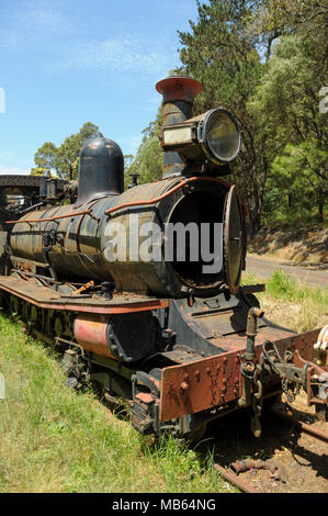 State Saw Mills steam engine SSM No. 2 slowly rusting away in a rail museum in Pemberton, Western Australia. - Stock Photo