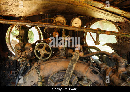 Steam locomotive cab controls of State Saw Mills steam engine SSM No. 2, slowly rusting away in a rail museum in Pemberton, Western Austra - Stock Photo