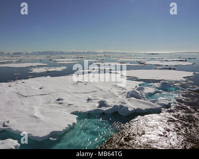 Large expanse of pack ice at above 80 degrees north and only 600 nautical miles from the North Pole - Stock Photo