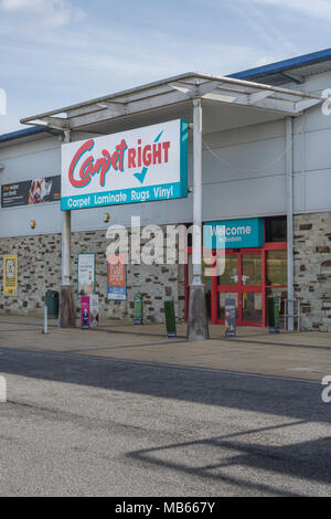 CarpetRight is possibly facing store closures in UK - exterior of Bodmin Retail Park CarpetRight store before potential closures. Out of town shopping - Stock Photo