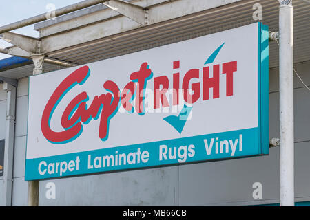 CarpetRight is possibly facing closure of stores in the UK - exterior of Bodmin Retail Park CarpetRight store before potential closures. - Stock Photo