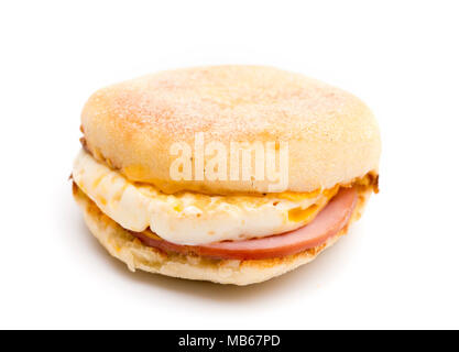 Egg, Canadian Bacon and Cheese Breakfast Sandwich on a White Background - Stock Photo