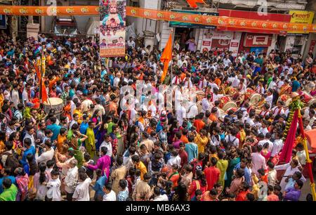 Mumbai, India - March 18, 2018: Massive crowd gathered at Girgaon, South Mumbai to celebrate Hindu New Year Parade (Gudi Padva) - Stock Photo