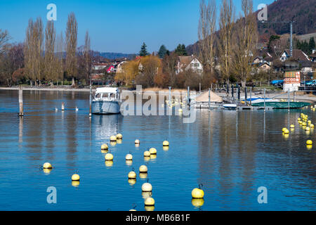 Beautiful view in the Rhine River at Swiss Town Stein Am Rhien in Switzerland - Stock Photo