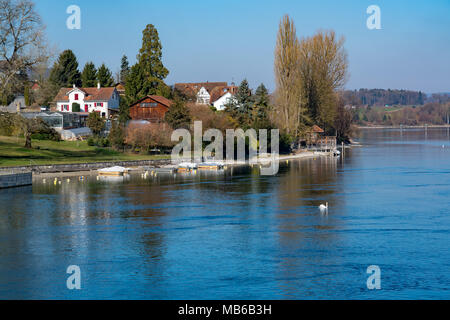 View of The Rhine River at the old swiss town Stein Am Rhein in Switzerland - Stock Photo