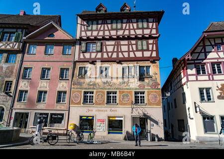 STEIN AM RHEIN, SWITZERLAND - MARCH 24, 2018 : Beautiful fresco on the building in historic old town Stein Am Rhein in Switzerland - Stock Photo