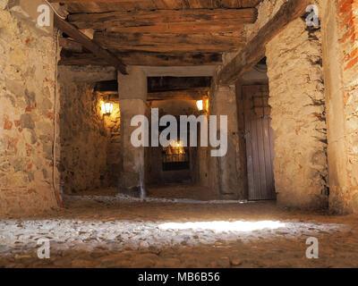 tunnel through the medieval village of the Sacro Monte, Varese. Italy - Stock Photo