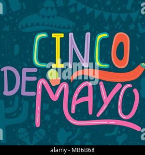 Banner or card for Cinco de Mayo celebration. Holiday poster with hand drawn calligraphy lettering, sombrero, cactus, chilli, tequila and maracas. Vec - Stock Photo