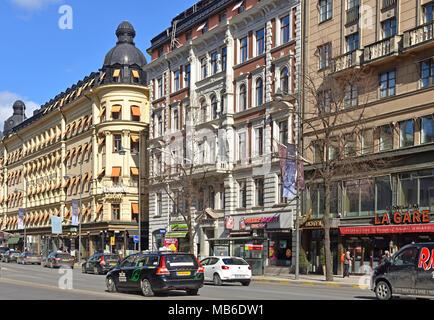 Vasagatan, major street in central Stockholm named after King Gustav Vasa, in spring - Stock Photo