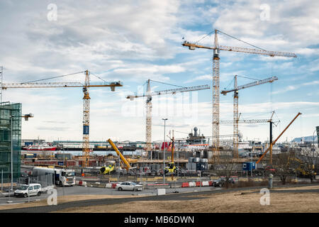 Reykjavik, Iceland. Construction under way on a new waterfront development at the East Harbour site, near the Harpa Opera House - Stock Photo