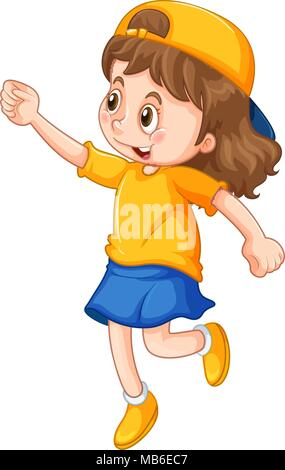 Girl in yellow shirt and hat illustration - Stock Photo