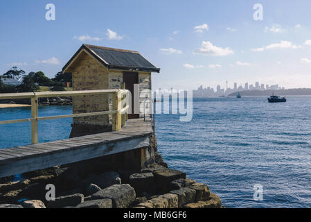 The wooden hut at Camp Cove Beach in Watson'ss Bay, Sydney, Australia - Stock Photo