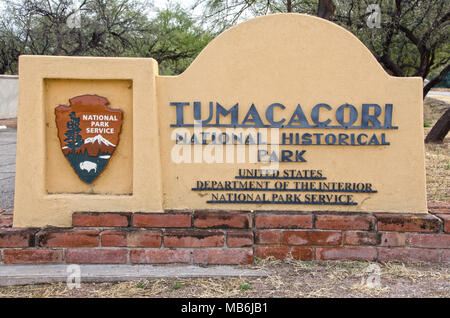 Tumacacor National Historical Park houses three different sites, including this one:  the Mission San Jose de Tumacacori, which was built in the 1750' - Stock Photo