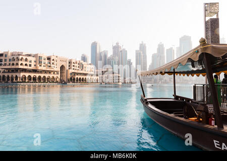 Dubai, United Arab Emirates, March 27th 2018: Calm day near the dancing fountain of Dubai - Stock Photo