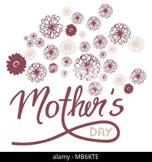 Doodle greeting card for Mother's Day with flowers and hand-written text - vector - Stock Photo