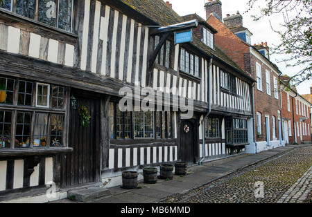 RYE, UK - APRIL 5th, 2018: Street in old part of  Rye, East Sussex; Rye is a medival english town and popular tourist destination. - Stock Photo
