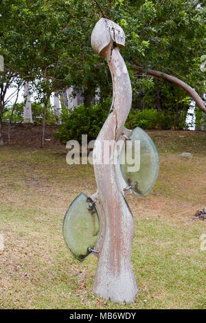 """""""The fruit it Bears"""" statue at Jean-Marie Tjibaou Cultural Centre in Noumea, New Caledonia Stock Photo"""
