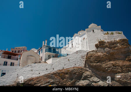 View over main part of old town Skopelos at Skopelos island in Greece - Stock Photo