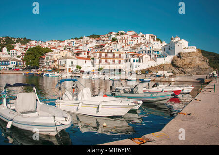 Panoramic view over Skopelos town at Skopelos island in Greece - Stock Photo