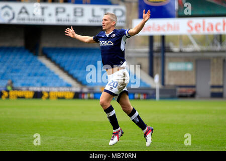 London, UK. 7th April 2018. Steve Morison of Millwall celebrates after scoring his team's second goal.  EFL Skybet championship match, Millwall v Bristol City at the Den stadium in London on Saturday 7th April 2018.  this image may only be used for Editorial purposes. Editorial use only, license required for commercial use. No use in betting, games or a single club/league/player publications. pic by Steffan Bowen/Andrew Orchard sports photography/Alamy Live news - Stock Photo