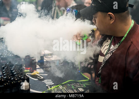 London, UK. 7th April, 2018. Vape Jam UK sees hundreds of vaping enthusiasts and electronic cigarette businesses attend the fourth instalment of Vape Jam convention at ExCeL London. Credit: Guy Corbishley/Alamy Live News - Stock Photo