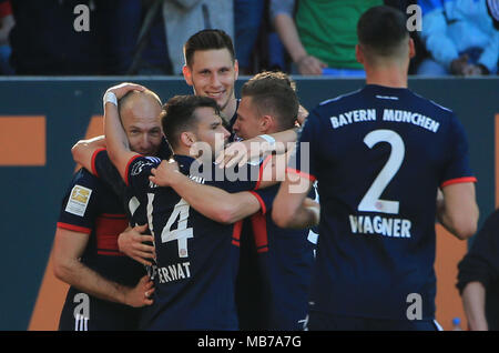 Augsburg, Germany. 7th Apr, 2018. Bayern Munich's players celebrate scoring during a German Bundesliga match between FC Augsburg and Bayern Munich, in Augsburg, Germany, on April 7, 2018. Bayern Munich won 4-1 to clinch its sixth consecutive Bundeslisga title ahead of schedule at the 29th round on Saturday. Credit: Philippe Ruiz/Xinhua/Alamy Live News - Stock Photo