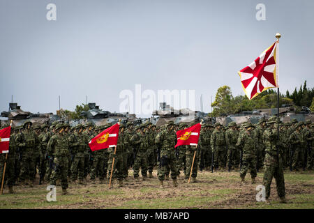 SASEBO, JAPAN - APRIL 7 : Soldiers of Japanese Ground Self-Defense Force (JGSDF), named The Amphibious Rapid Deployment Brigade attend a ceremony in Camp Ainoura in Sasebo, Nagasaki Prefecture, Japan on April 7, 2018. (Photo: Richard Atrero de Guzman/AFLO) - Stock Photo