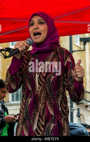 April 7, 2018 - London, UK. 7th April 2018. Salma Yaqoob of Birmingham Stop the War Coalition and a spokesperson for Birmingham Central Mosque speaks at the protest at Downing St condemning the shooting by Israeli snipers of peaceful unarmed Palestinian protesters on the first day of a peaceful protest, the Great March of Return, at the separation wall in Gaza on Land Day, 30th March. Live fire by the Israelis killed 17 and wounded over 750. A further nine Palestinians including one journalist were killed yesterday and 1,350 injured, around 400 by live fire, with around 25 in a critical cond - Stock Photo