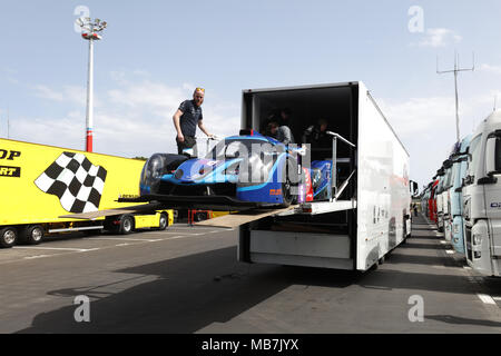 Circuit Paul Ricard, Le Castellet, France. 8th Apr, 2018. Teams, drivers and personnel prepare for the European Le Mans Series (ELMS) testing days at Circuit Paul Ricard Credit: Paren Raval/Alamy Live News - Stock Photo