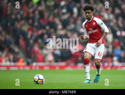 London, UK. 8th April, 2018.  Reiss Nelson of Arsenal during the Premier League match between Arsenal and Southampton at Emirates Stadium on April 8th 2018 in London, England. (Photo by Arron Gent/phcimages.com) Credit: PHC Images/Alamy Live News - Stock Photo