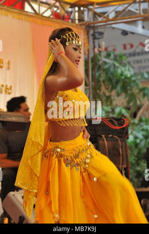Phnom Penh, Cambodia. 8th April, 2018. Cambodia celebrates Khmer New Year with Indian influenced traditional dancing, Steung Mean Chey, Phnom Penh, Cambodia, Credit: Kraig Lieb / Alamy Live News - Stock Photo
