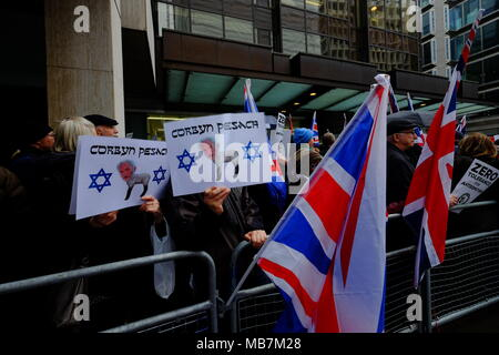 London, UK. 8th April, 2018. protest outside Labour Party headquarters in London against anti-semitism in the Labour party Credit: Rachel Megawhat/Alamy Live News - Stock Photo