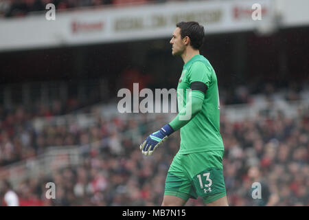 London, UK. 8th April, 2018. Alex McCarthy , the goalkeeper of Southampton. Premier league match, Arsenal v Southampton at the Emirates stadium in London on Sunday 8th April 2018.  this image may only be used for Editorial purposes. Editorial use only, license required for commercial use. No use in betting, games or a single club/league/player publications. pic by Kieran Clarke/Andrew Orchard sports photography/Alamy Live news - Stock Photo